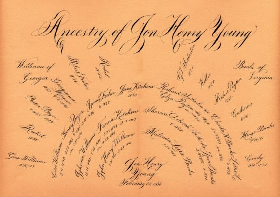 Family tree calligraphy by graceful studio contemporary
