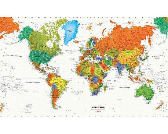 York Wallcoverings - World Map Countries Giant Prepasted Wallpaper Accent Mural - Features: