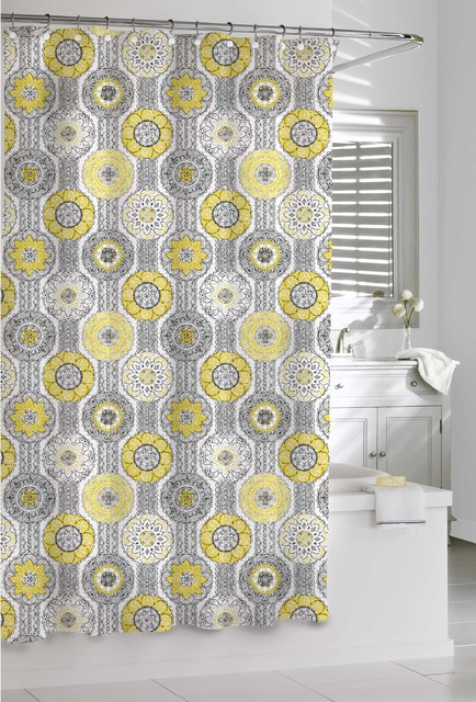 Mosaic Yellow And Grey Shower Curtain Contemporary Shower Curtains By