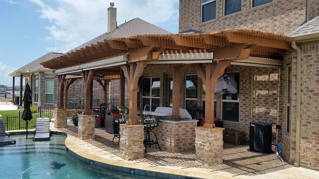 Pergola with corbels for Craftsman style trellis