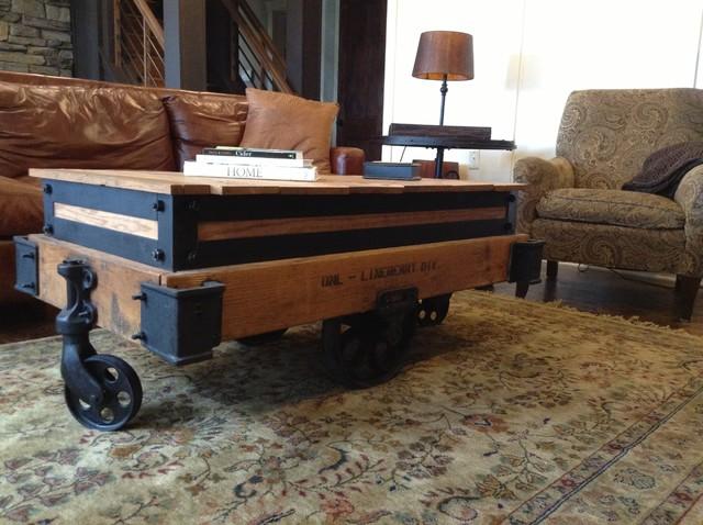 Rustically Modern Coffee Table Bar Cart Pub Table 3 In