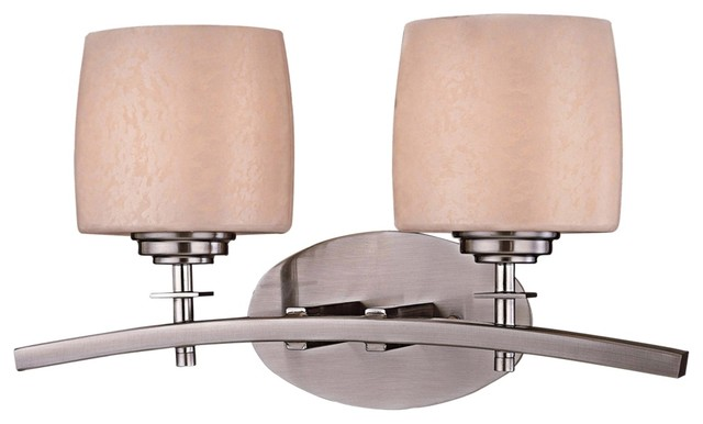 Art Deco Minka Raiden 2-Light Brushed Nickel Bath Light contemporary-bathroom-lighting-and-vanity-lighting