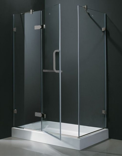 32 in. x 48 in. Frameless Brushed Nickel Shower Enclosure with Base - Contemporary - Shower ...