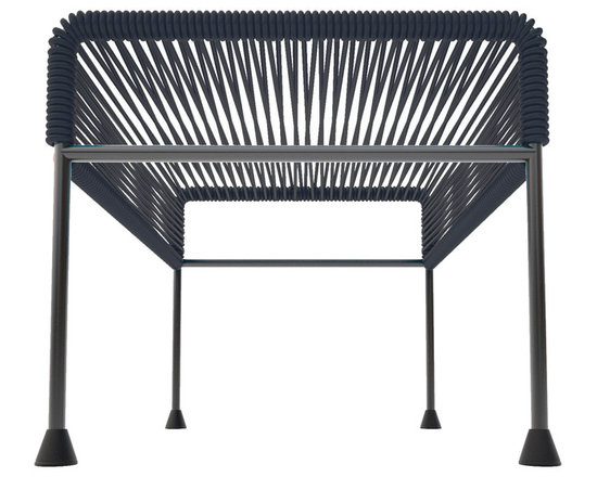Adam Ottoman, Black Weave On Black Frame - Sleek woven vinyl makes this coffee table stand out from the crowd. It's a great option for indoor or outdoor use since the vinyl is UV protected and the metal base is galvanized. The only challenge would be deciding on your favorite color combination.