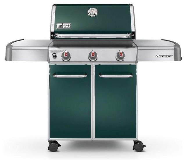 weber genesis e 310 3 burner propane gas grill green. Black Bedroom Furniture Sets. Home Design Ideas