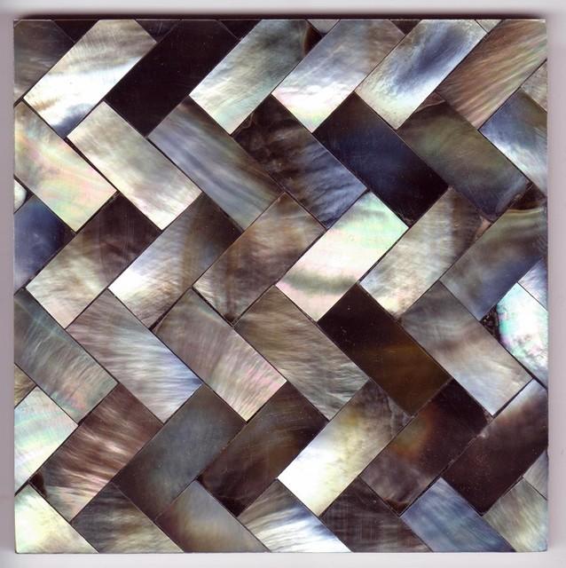 Grey Herringbone 10cm Tile eclectic-tile