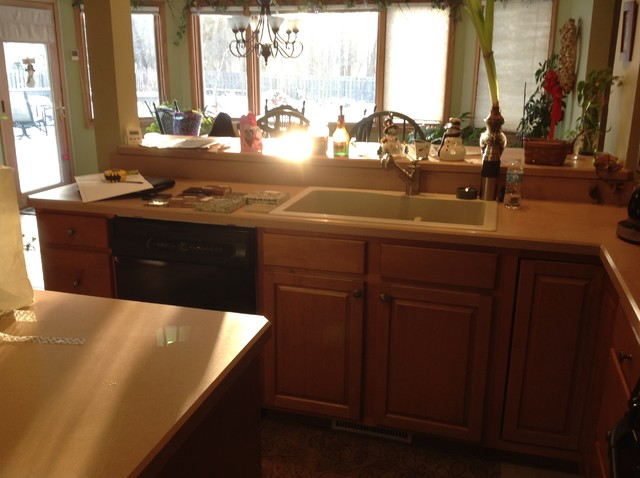 Quartz Countertop Height : Brown Quartz Countertop with Beige Tile Backsplash ~ Broadview Heights ...