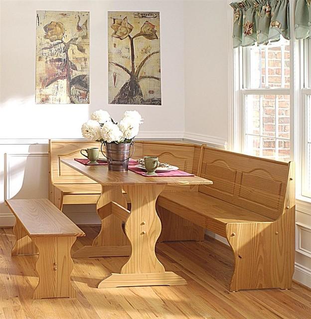 Brazilian Pine Dining Nook Set w Bench Style ...