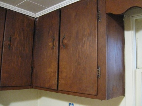 Help Ugly Plywood Cabinets