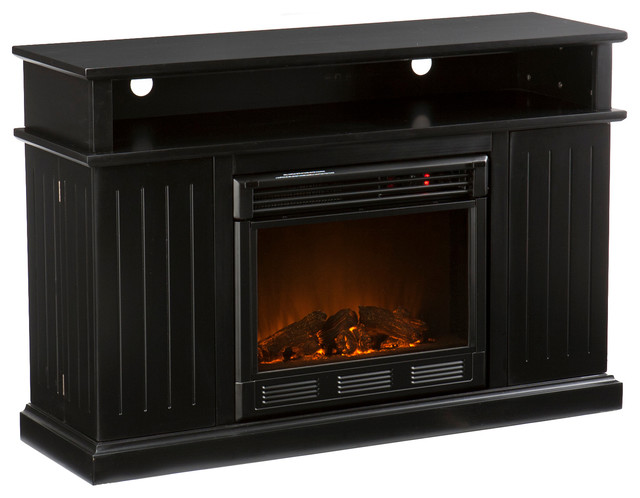 Fenton Media Electric Fireplace Black Contemporary Fireplaces By Shop Chimney