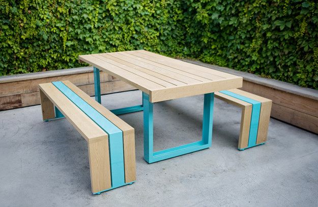 SR White Oak Table Set modern outdoor tables