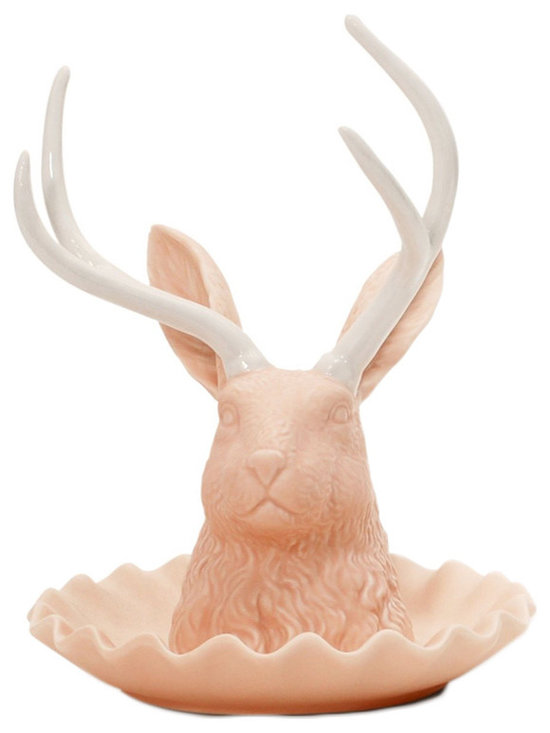 imm Living Jackalope Watusi Peach Jewelry Holder