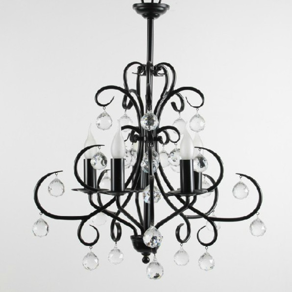 Milan Modern Black Crystal Chandelier Contemporary