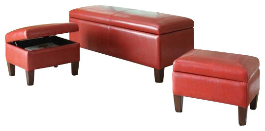3 piece set ibrahim red leather like upholstered tufted