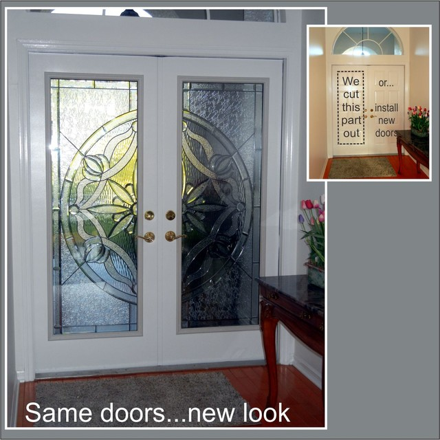 Cut the doors to add glass - Traditional - Entry - tampa - by The Glass Door Store