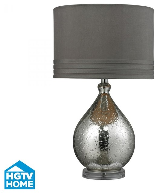 One Light Mercury Glass Grey Taupe Faux Silk, Grey Fabric Liner Shade ...