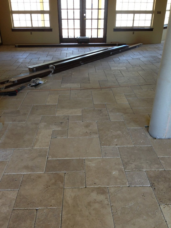 Versailles Pattern Travertine - Photo taken during new construction. As of April 2013 this is not grouted. Hope to have completed pictures soon.
