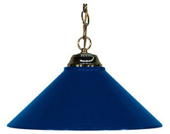 Polished Brass and Navy Blue Pendant transitional-pendant-lighting