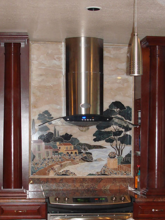 Mediterrian beach handcrafted marble mural backsplash - Size; 30x49.20