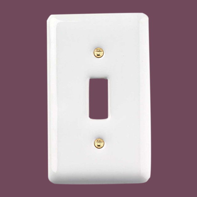 Switchplates White Porcelain Single Toggle/Dimmer Switch Plate - Traditional - Switch Plates And ...