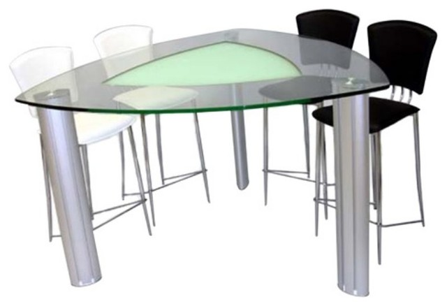 Chintaly Tracy Triangle Glass Top Dining Table Multicolor  : contemporary dining tables from www.houzz.com size 640 x 438 jpeg 33kB