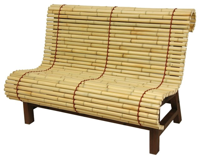Curved Japanese Bamboo Bench Traditional Accent