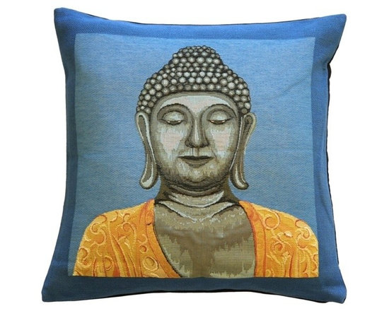 Pillow Decor Ltd. - Pillow Decor - Buddha French Tapestry Throw Pillow - The Buddha in French Tapestry Throw Pillow is bold and colorful, yet beautifully serene. You will lose yourself in the background that contrasts wonderfully against the golden yellow colors of Buddha's robe. The heavy French tapestry fabric is perfect for this image, bringing together a sense of the ancient with a vibrant contemporary design.