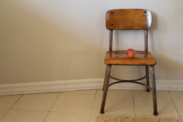 Vintage Metal & Wood School Chair by Vintage Silver Lining ...