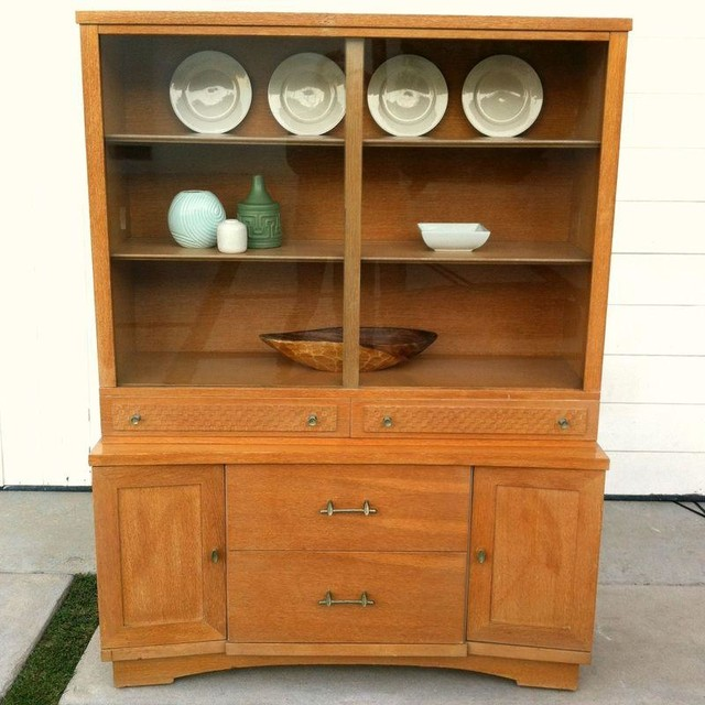 Mid-Century Curio China Cabinet - Modern - Kitchen Cabinetry - by Chairish
