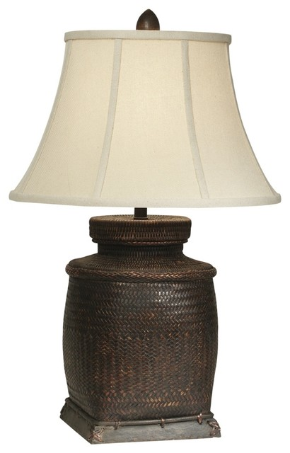Asian Antique Rice Bin Wicker Table Lamp by The Natural Light asian-table-lamps