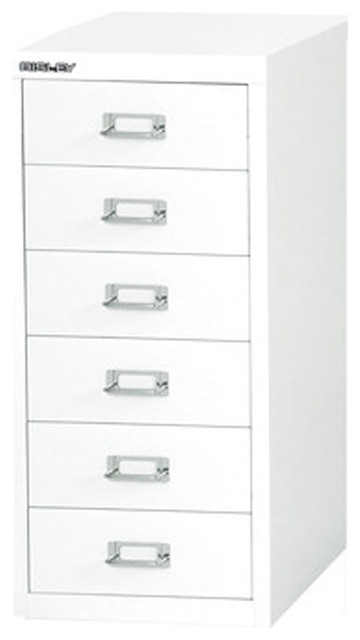Bisley 6-Drawer Under Desk Multi-Drawer Cabinet in White Steel - Traditional - Filing Cabinets ...