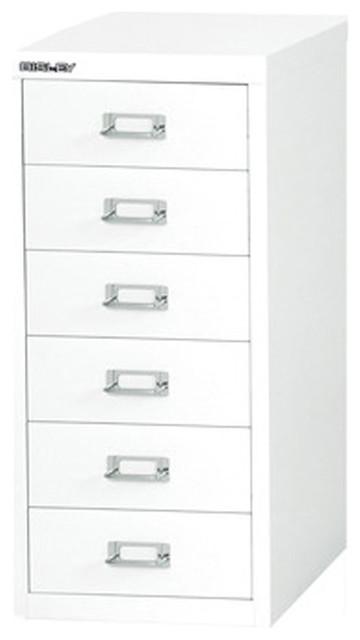 bisley 6 drawer under desk multi drawer cabinet in white steel traditional filing cabinets. Black Bedroom Furniture Sets. Home Design Ideas