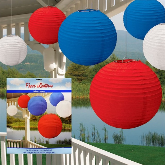 Patriotic Paper Lanterns traditional-holiday-decorations