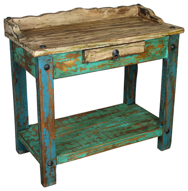 Painted Wood Telephone Table - Rustic - Plant Stands And ...