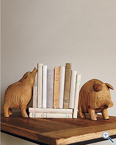Wooden Pig Bookends - Garnet Hill eclectic-bookends