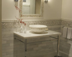 Spanish Machael Grey and White marble eclectic-floor-tiles