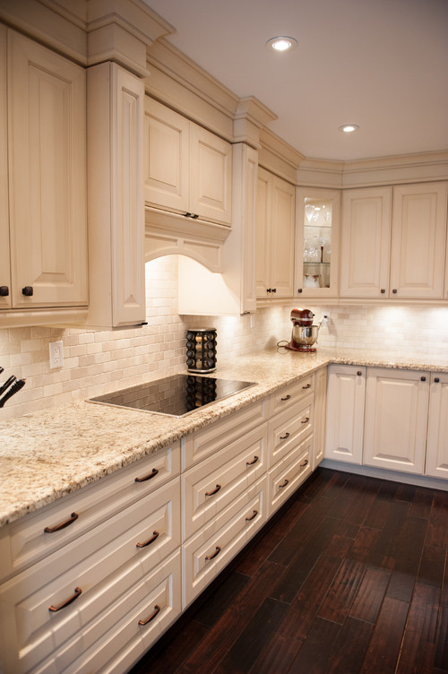 Giallo Ornamental White Cabinets Backsplash Ideas