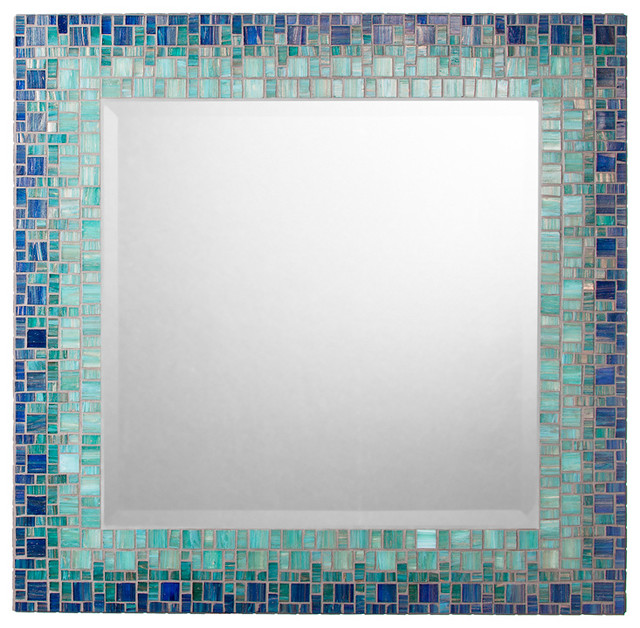 Mosaic Mirror - Deep Blue & Teal (Handmade) contemporary-mirrors