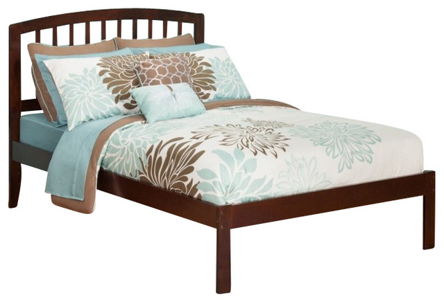 Bed with open foot rail in antique walnut twin size traditional beds