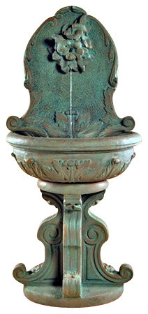 Hummingbird Outdoor Wall Fountain, Palomino traditional-outdoor-fountains-and-ponds