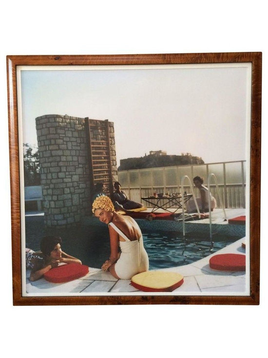 Pre-owned Framed Photograph - Slim Aarons Poolside - A Slim Aarons, Poolside photograph print, custom framed in burl wood.    From Wikipedia: Slim Aarons, born George Allen Aarons (October 29, 1916, Manhattan - May 29, 2006, Montrose, New York), was an American photographer noted for photographing socialites, jet-setters and celebrities.
