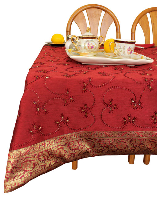 Hand Embroidered Square Tablecloth asian-tablecloths