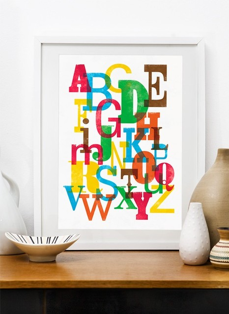 Colorful Alphabet - A3 poster print in Letterpress style eclectic artwork