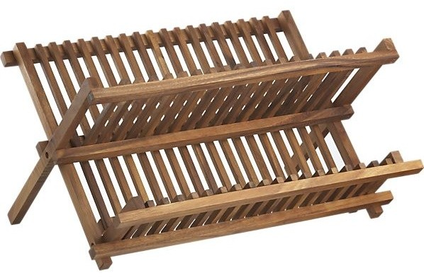Acacia dish rack contemporary dish drainers by crate for Kitchen drying rack ikea