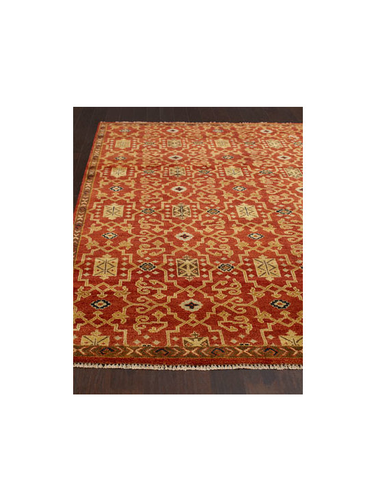 "Horchow - ""Marlena"" Rug - Rug offers the best of both worlds with the durability of hand knotting and the softness of wool. Traditional design is beautifully highlighted by deep, vibrant color. Hand knotted of handspun wool. Sizes are approximate. Imported. See our Rug G..."