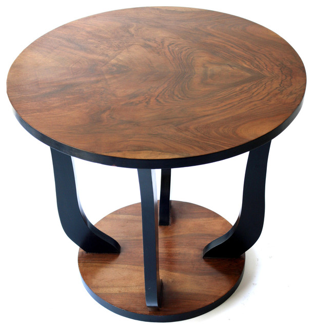 French art deco walnut round side table modern side for Table de nuit art deco