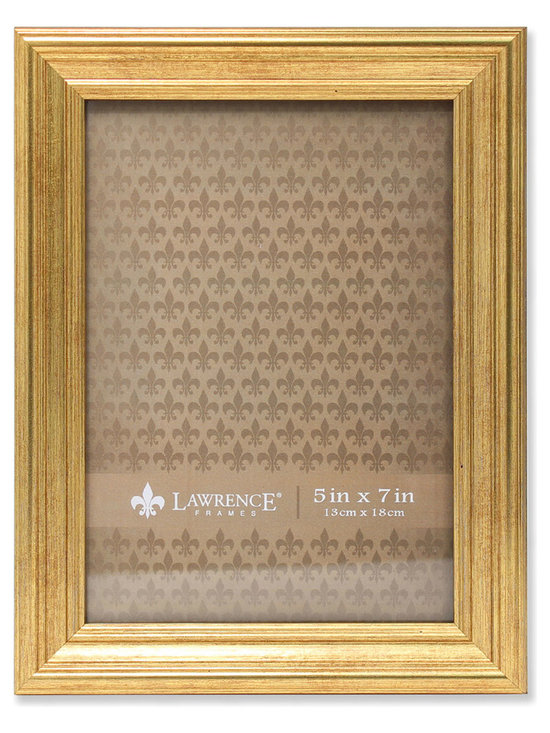 Lawrence Frames - 5x7 Sutter Burnished Gold Picture Frame - High quality burnished gold composite picture frame.  Beautifully finished picture frame that will be a great decorative addition to any room.  Comes with a two way easel for vertical or horizontal table top display, and hangers for vertical or horizontal wall mounting.  High quality black velvet backing.  Picture frame comes with glass to protect your photo, and is individually boxed.