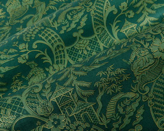 Kanji Fabric in Spruce Green - Kanji Fabric in Spruce Green. A 100% cotton patterned fabric in dark green hues and gold accents. Great for drapery, pillows and bedding. Kanji has an Asian flair and is a designer's dream offering a unique, high quality fabric that is well priced.