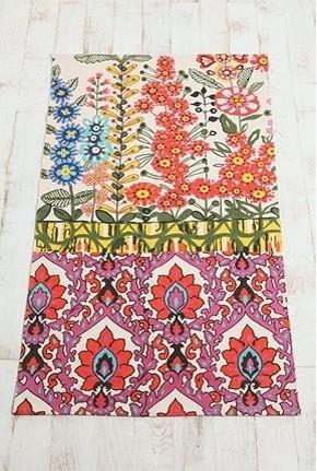 Floral Stripe Printed Rug eclectic-rugs