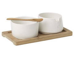 Sugar + Creamer Set on Bamboo Tray modern serveware